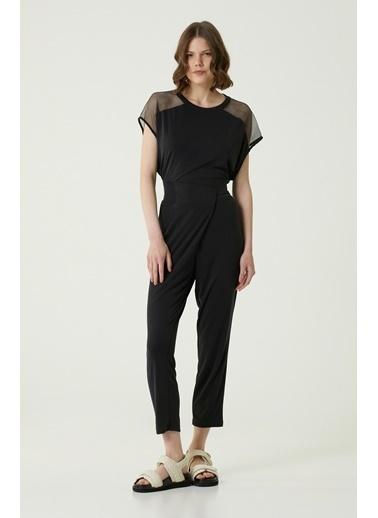 NetWork Network 1079932 Basic Fit Beli Lastikli Asimetrik Kesim Detaylı Kadın Pantolon Siyah